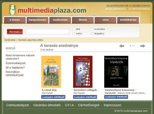 5. ábra - Multimédia Pláza: Az általunk készített ingyenesen elréhető e-könyvek