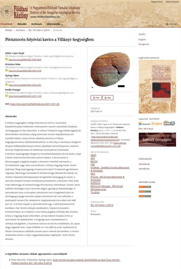 4. kép: Az általam kiválasztott szemléltető képek (3-5. kép) az OJS3-mal készített Földtani Közlöny (http://ojs3.mtak.hu/index.php/foldtanikozlony/) tartalomjegyzékét, egy tetszőlegesen kiválasztott cikkét és az innen megnyitott, az adott cikket tartalamzó pdf-et ábrázolják