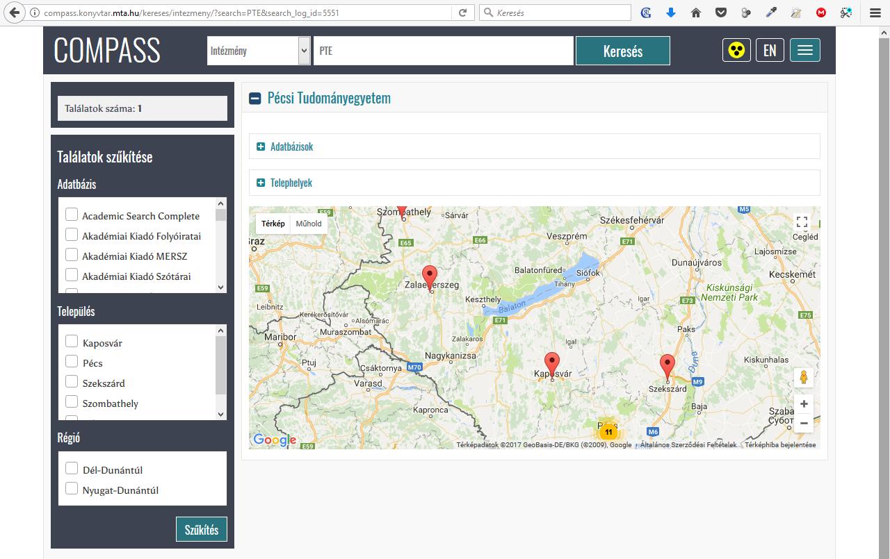 Keresés a Pécsi Tudományegyetem előfizetett adatbázisaira